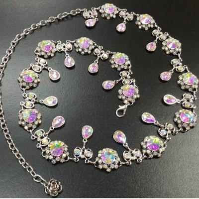 【優作坊】SP602_時尚彩鑽造型珍珠腰鍊、腰飾、腰封