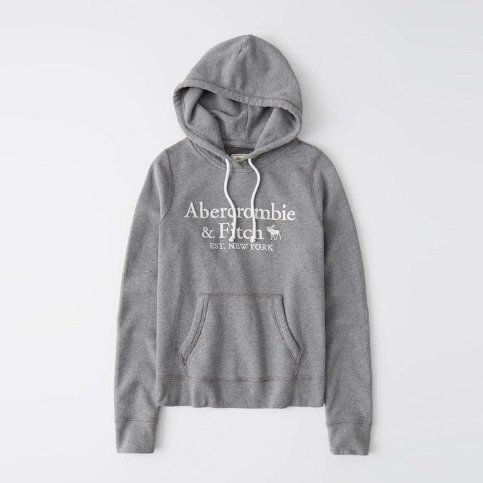 【Abercrombie&Fitch】【A&F】【零碼XS】AF女款連帽T恤三排白字鹿灰 F02201006-06