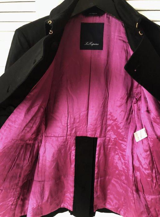 原價$42800【Les Copains】黑色金釦雙排扣軍裝大衣