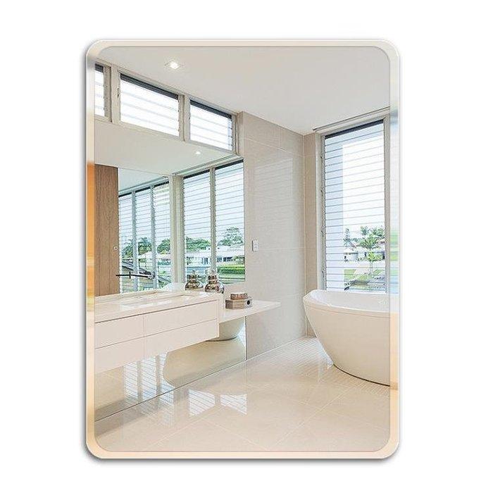35*45浴室鏡子免打孔無框洗手間衛浴鏡衛生間鏡壁掛鏡子粘貼化妝鏡歐式