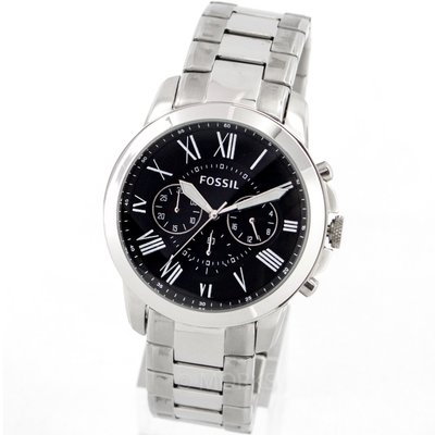 現貨 可自取 FOSSIL FS4736 手錶 44mm 三眼計時 黑面盤 鋼錶帶 男錶女錶
