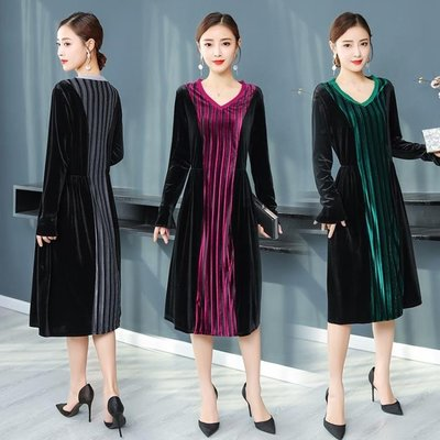 實拍中國風女裝V領拼接長袖寬鬆A字中長款氣質連身裙洋裝