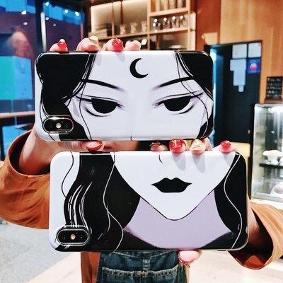 手機殼 手機保護套 自拍漫畫美少女iphone xs max手機殼蘋果xr/8/7plus全包6sp磨砂女