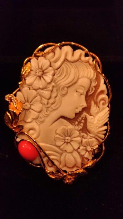 【家與收藏】頂級稀有珍藏歐洲古董珍貴手工精緻女神大貝雕cameo墜子胸針珠寶首飾
