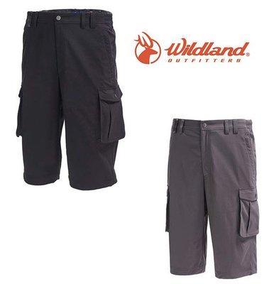 丹大戶外【Wildland】荒野 男彈性抗UV貼袋七分褲 0A71360 黑/煙灰