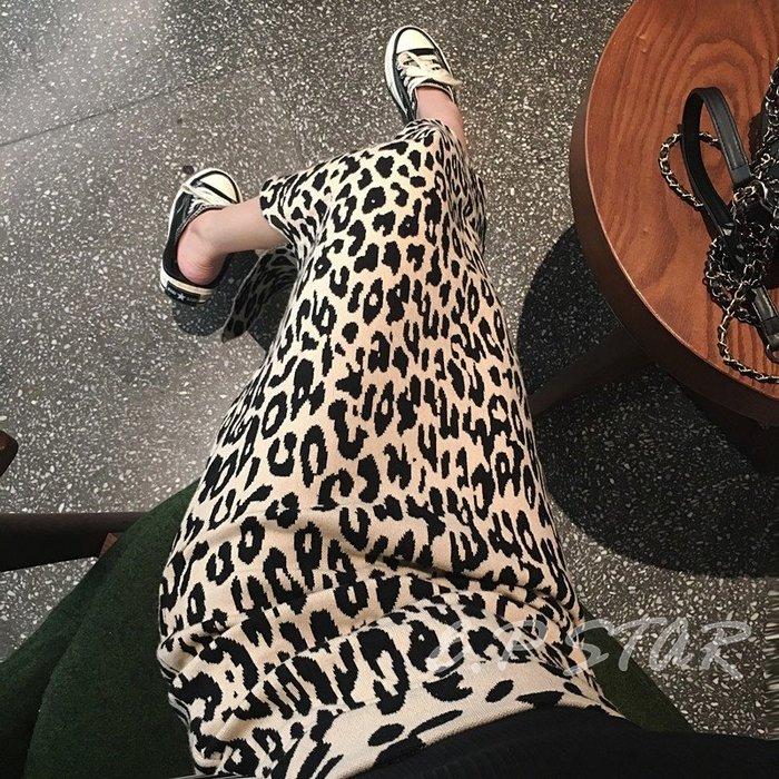 【E.P STAR】歐美 復古豹紋針織裙開叉彈性 合身包臀中長版過膝針織長裙