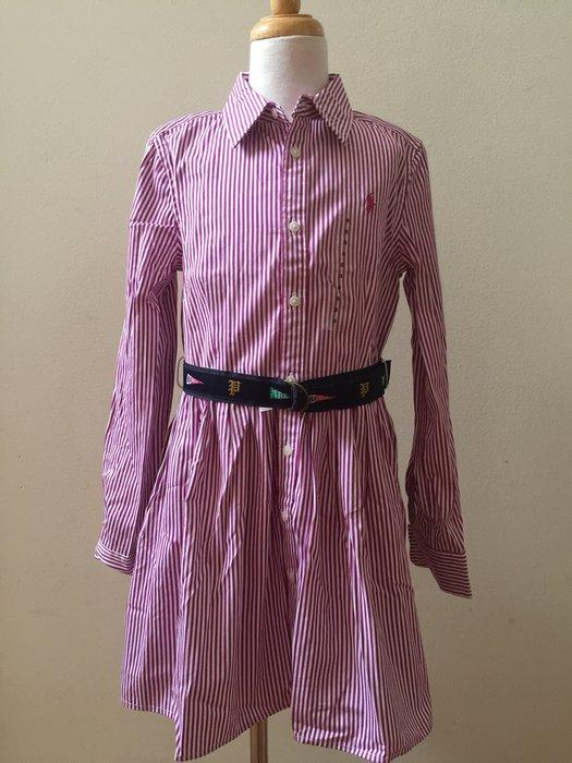 【Polo Ralph Lauren】RL 大女童 繡小馬 長袖洋裝 紫紅色直條紋 繫腰帶 8T