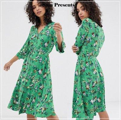 【Sam Presents】歐洲進口歐美洋裝鄉村風Finery嫩綠腰綁帶過膝裙中長小禮服有中大尺碼C6386