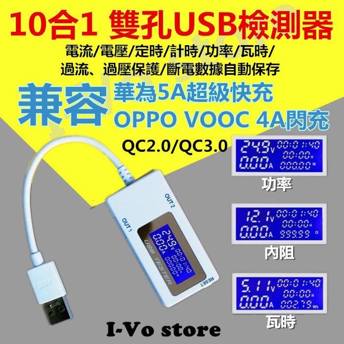 【24H快速出貨】『現貨』10合1雙孔USB檢測器-充電保護-電壓-電流-安培-豪安-功率-電阻-定時斷電-過充保護