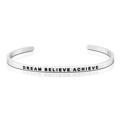 MANTRABAND 台北ShopSmart直營店 美國悄悄話手環 Dream Believe Achieve 銀色