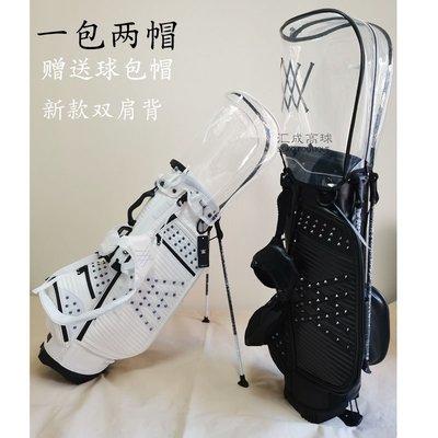 高爾夫球桿高爾夫球包雙肩球桿包一包二帽男女時尚超輕PU球袋防水GOLF支架包
