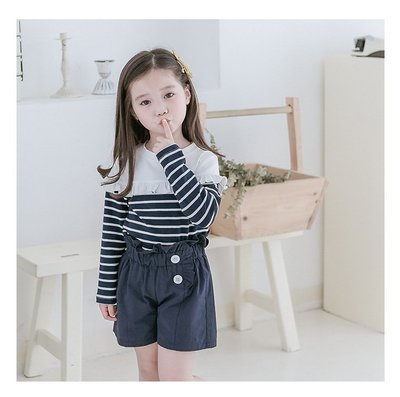 【Mr. Soar】C4011 春季新款 歐美style童裝女童長袖上衣+短褲套裝 中大童 現貨