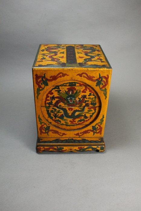 悅年堂 --- 戧金 漆彩 龍纹 三層方盒 蓋盒 儲物盒 z