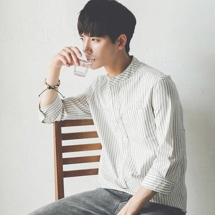 夏季學生韓版修身豎條紋7七分袖白襯衫潮流短袖襯衣服男帥氣百搭
