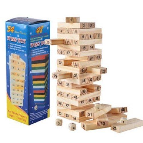 聖誕節交換禮物松木疊疊樂 盒裝54片送4顆骰子 數字層層疊 益智桌遊 親子同樂【AE09037】99愛買