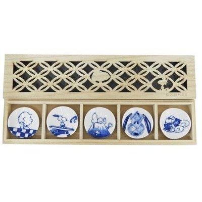【JPS日貨】日本  全新正品 SNOOPY 史努比小碟子木盒組(五入)(長)