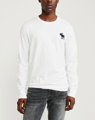AF Abercrombie & Fitch 麋鹿 長袖 素T 白色