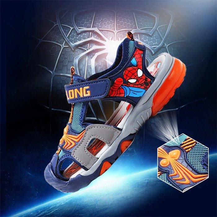 東大門平價鋪  新品小男孩兒童蜘蛛俠沙灘鞋,3-18男童包頭軟底涼鞋