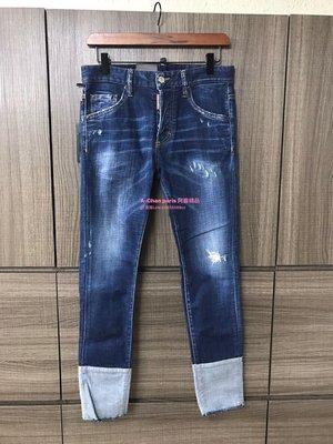 ~阿醬精品~巴黎直送D2(褲子)-深藍色刷破反折款,劉德華著用愛牌。零碼出清,五折價,適合28.29腰
