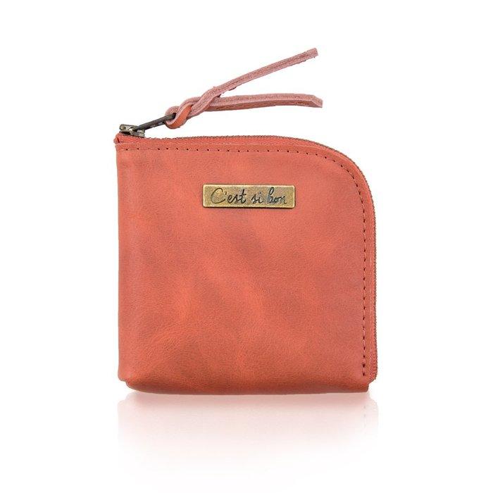 C'est Si Bon|【免運。現貨】進口真皮L型拉鍊零錢包/鈔票短夾-啡紅色 禮品 盒裝