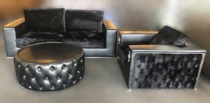 台中二手家具買賣 推薦 宏品中古傢俱館 A828AJ*全新歐式古典黑色絨布沙發 1加2含茶几*客廳桌椅 泡茶桌椅餐桌