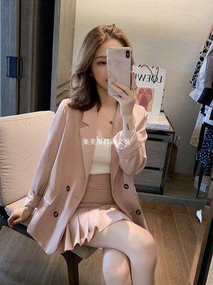集美屋韓國女裝早春2019新款正韓粉色小西裝外套+半身短裙套裝女網紅休閒兩件套