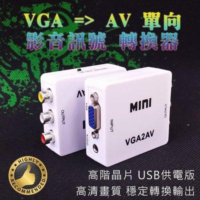 隨接即用 VGA 轉 AV 影音訊號 單向 轉換器 高階轉換晶片 操作簡單 訊號穩定 電腦VGA轉接電視AV