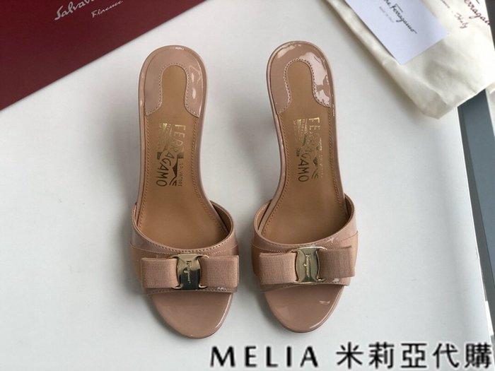 Melia 米莉亞代購 歐美精品女鞋 商城特價 SALVATORE FERRAGAMO 高跟拖鞋 金扣蝴蝶結設計 粉色