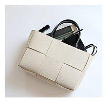 ~潮品聚落~米白色編織帆布手提包托特包方包大包-1色[BFN201012-10]