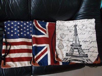 厚帆布簡約索繩袋巴黎鐵塔美國旗英國旗Backpack 帆布索繩背包 索繩背囊 索袋