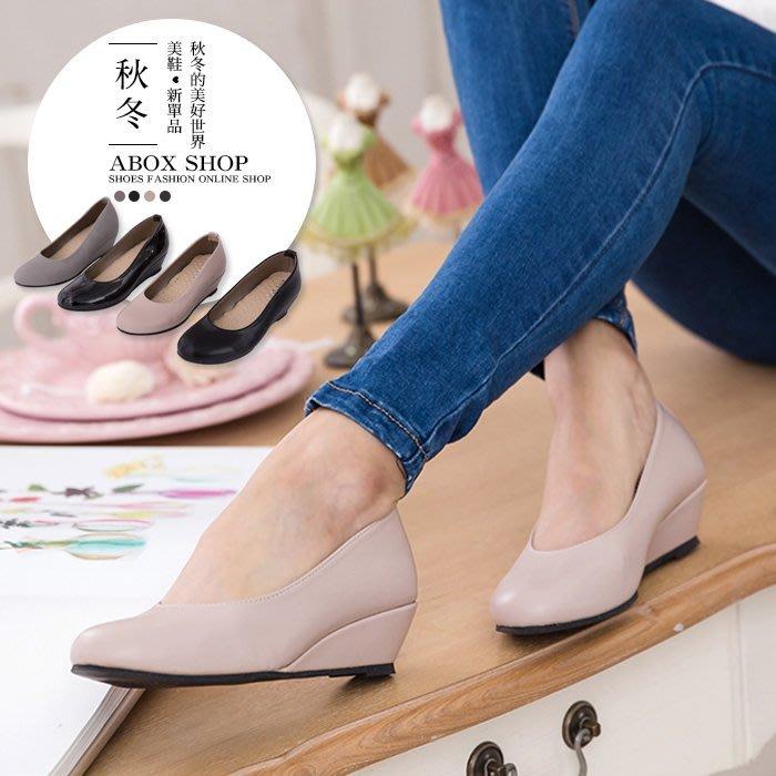 格子舖*【KP896】MIT台灣製 OL上班穿搭必備 素面高質感麂皮皮革 舒適增高4CM楔型鞋 厚底包鞋 4色