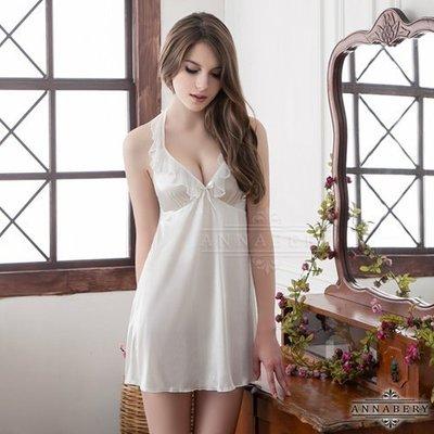 ~誘惑精靈~愛上我~大 Annabery繞頸荷葉領雪白柔緞睡衣