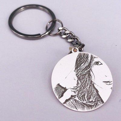 Lissom韓國代購~丘比戀訂做990足銀鑰匙扣 男女士情侶照片鑰匙圈定制刻字汽車掛件