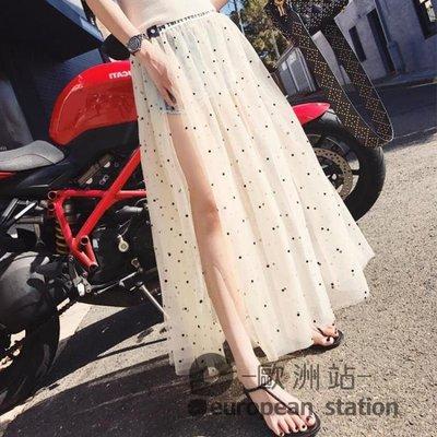 半島鐵盒 半身長裙/網紗罩裙外搭透視波點女中長款