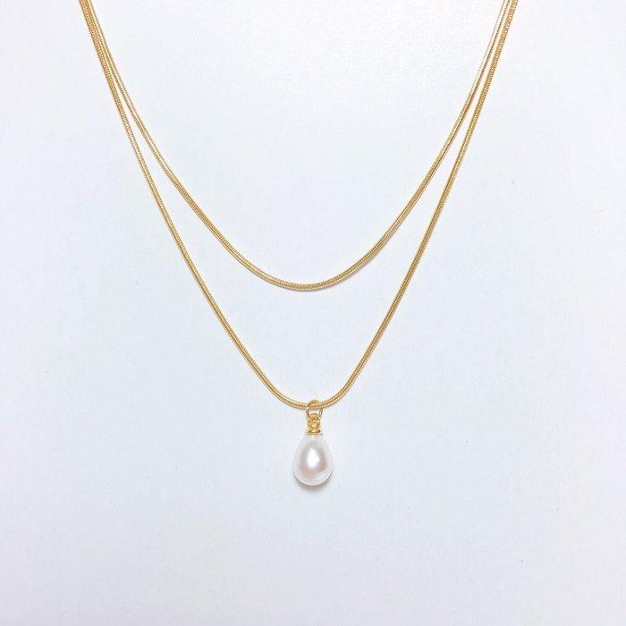 《現貨》韓國❤️極簡 水滴 珍珠 雙鍊 中鍊 項鍊【Verina's韓系美飾】