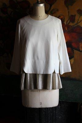 {kóo-ì antique 古憶舖} 日本連線展示品出清  日本專櫃名牌 d'un a dix 白色金蔥個性上衣