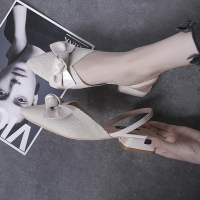 哆啦本鋪 涼鞋女蝴蝶結低跟粗跟尖頭仙女鞋子 D655
