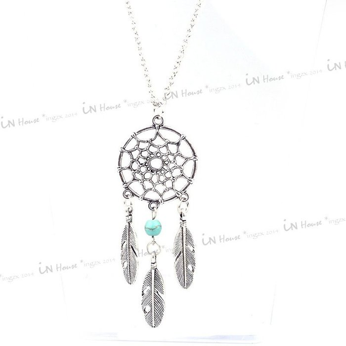 IN House*🇹🇼現貨 necklace 波西米亞風 印第安 民俗風 捕夢網 樹葉羽毛流蘇 長款 項鍊 項鏈