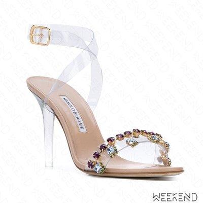 【WEEKEND】 MANOLO BLAHNIK x Rihanna 聯名 Purple Chalice 鑲鑽 高跟涼鞋
