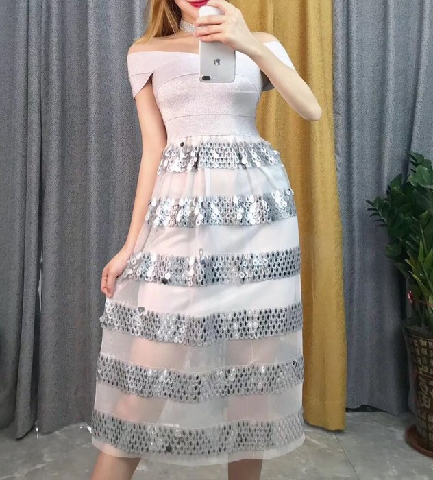 Nie Sansa 【預購】 一字領白拼紗銀亮片連身長洋繃帶裙長禮服晚宴服