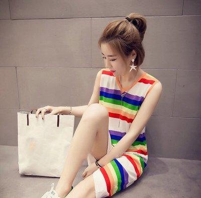 *Angel  Dance*無袖純棉洋裝(3色)@韓系 彩虹條紋 S到5X L T恤裙 顯瘦 大中尺碼 寬鬆@現貨+預購