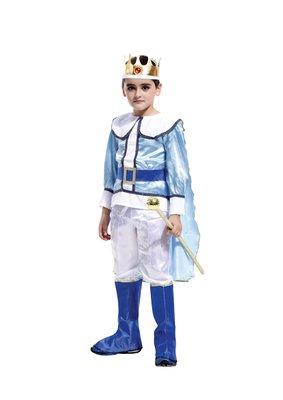 萬聖節服裝,萬聖節服飾,國王服裝/兒童變裝服-粉藍豪華國王裝