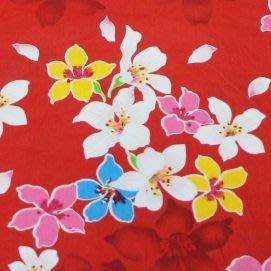 油桐花(紅色花影) 純棉花布 90cm寬 被單布/客家花布/抱枕/枕套/門簾/窗簾