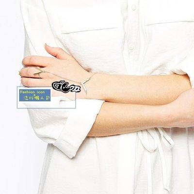 歐美街頭時尚個性 指關節手鍊三環一體造型鑲鑽戒指 高調氣勢V宣言 2件免運!