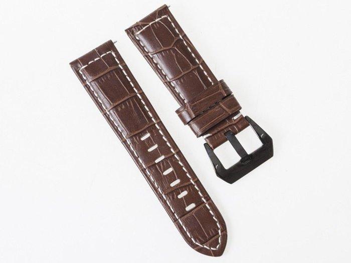 牛皮磨砂紋路錶帶 厚款真皮手錶帶 黑扣 24MM 深棕 FA-37290