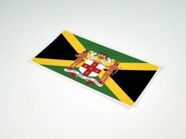 【國旗貼紙專賣店】牙買加國徽旗長形行李箱貼紙/抗UV防水/Jamaica/多尺寸各國都可客製