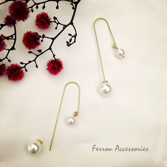Ferron Accessories  D71 搖曳系列耳環-珍珠 訂製 Handmade 復古 歐美 黃銅