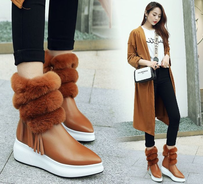 ~Linda~雪地靴女中筒兔毛加絨保暖棉鞋冬季韓版真皮松糕厚底坡跟流蘇靴子