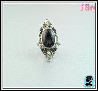 【能量天然黑瑪腦■925純銀戒指】復刻古典手工鑲嵌馬克賽礦石  ~ 歐美設計款 ~ #現貨✽ 17 Glory ✽