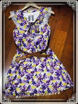紫色夏日普普懷舊風 小碎花 連身裙 小洋裝 長版上衣~❈迷你扣扣小尺碼二手衣物拍賣❈